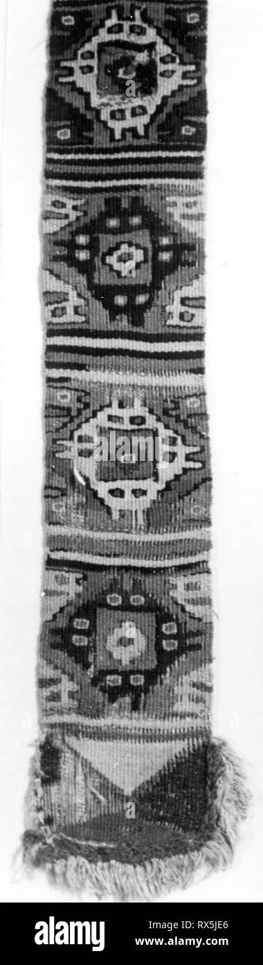 Loincloth Fragment. Probably central coast, Peru. Date: 1000-1476. Dimensions: 28.7 x 7.2 cm (11 5/16 x 2 7/8 in.). Slit tapestry, applied fringe. Origin: Peru. Museum: The Chicago Art Institute. - Stock Image