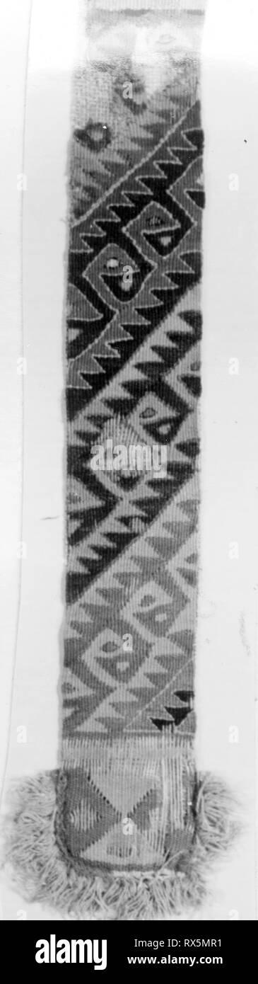 Loincloth Fragment. Probably central coast, Peru. Date: 1000-1476. Dimensions: 27.3 x 5.1 cm (10 3/4 x 2 in.). Slit tapestry. Origin: Peru. Museum: The Chicago Art Institute. - Stock Image