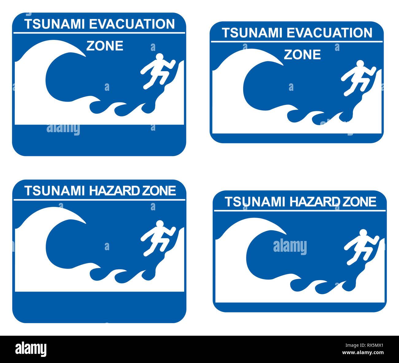 Tsunami warning signs showing evacuation and hazard zones