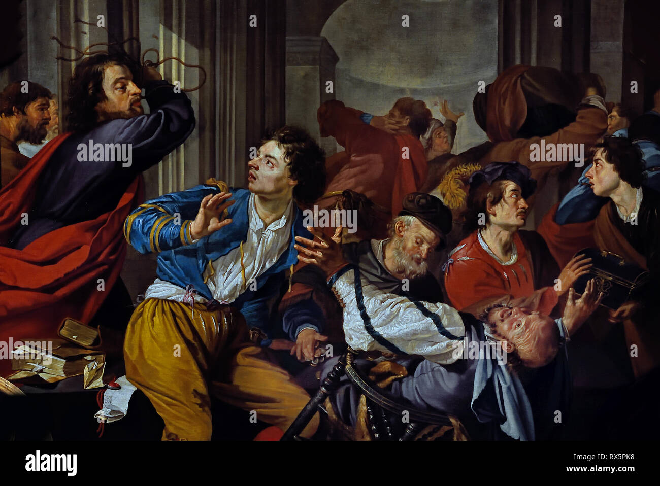 The expulsion of the money changers from the temple, ca. 1628-1637, by Theodoor Rombouts, The Netherlands, Dutch, - Stock Image