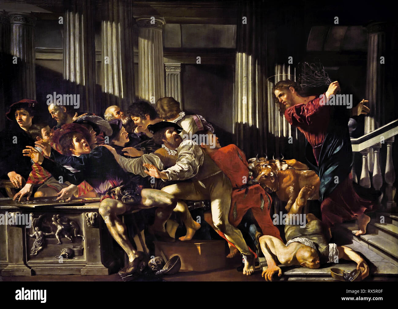 Christ Driving the Merchants from the Temple 1610 by Fransco Boneri. gen, Cecco de Caravaggio,  Italian, Italy, ( Caravaggists, Style of Caravaggio) - Stock Image