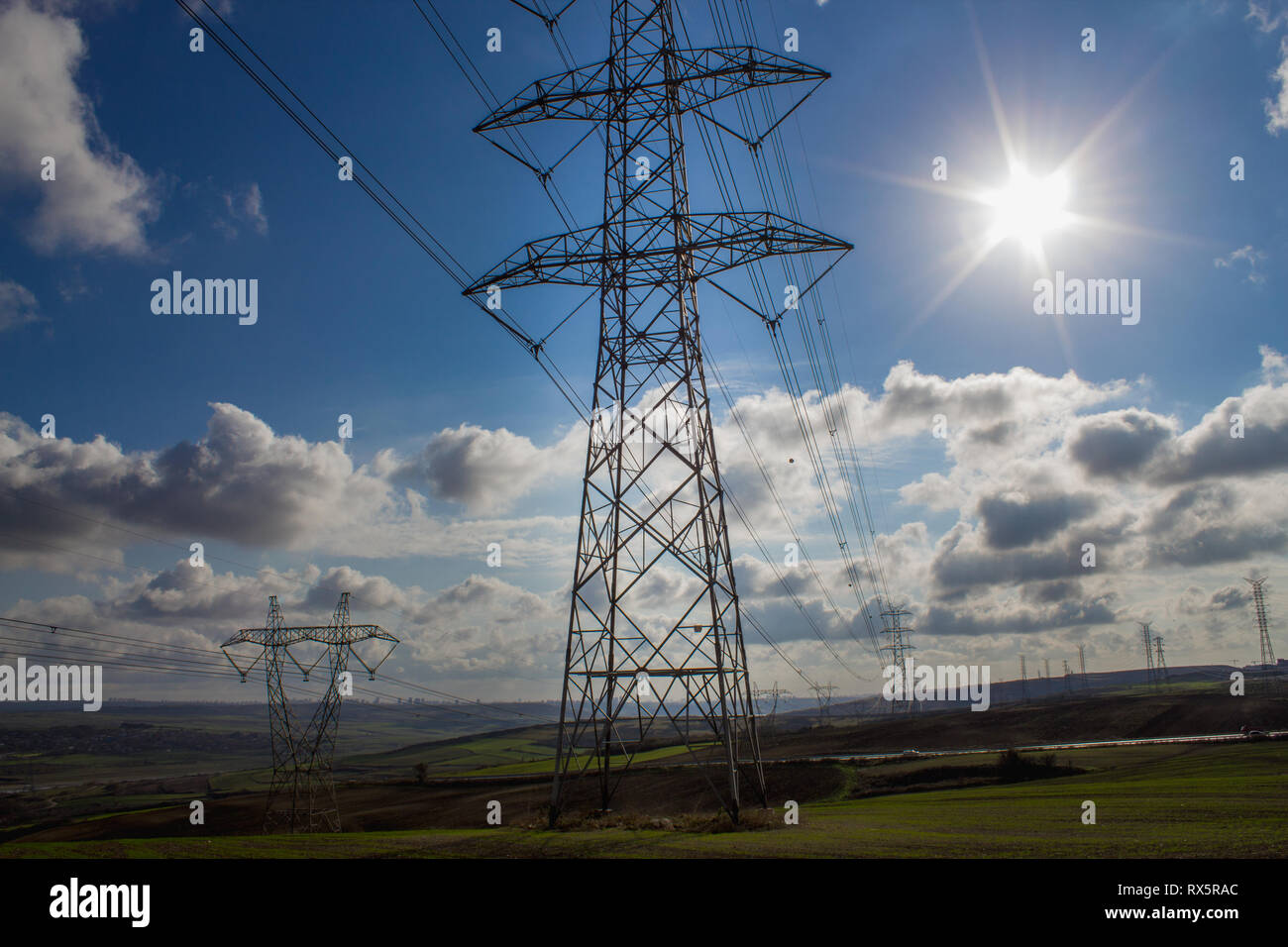 High voltage electric energy transmission line - Stock Image