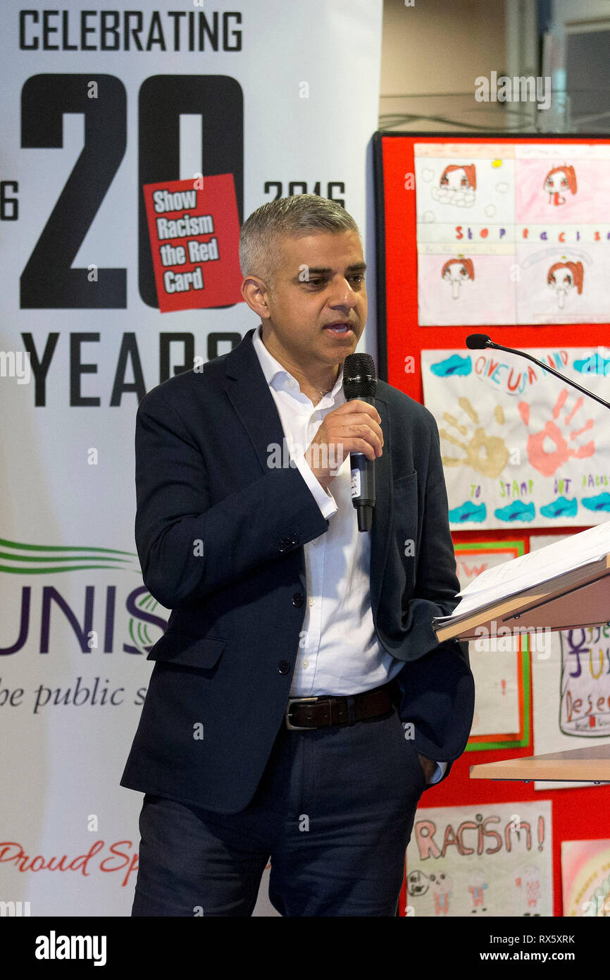 Sadiq Khan speaks at the 20 year anniversary of show racism the red card in London on 28 April 2016. - Stock Image