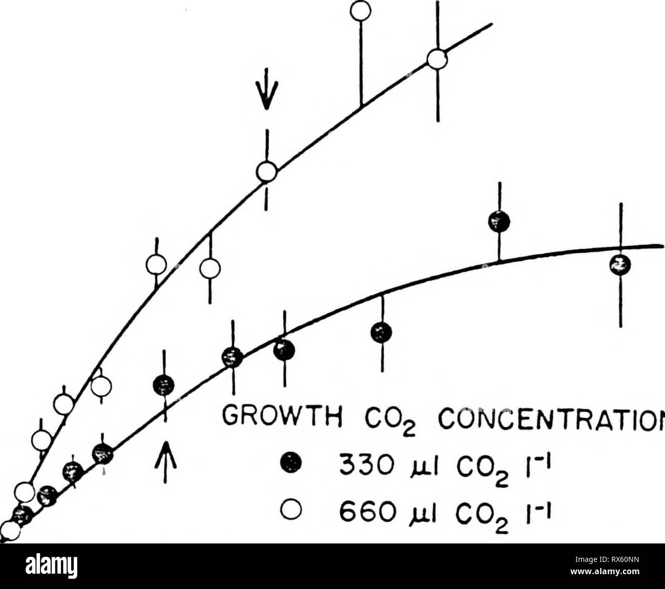 Effects of carbon dioxide on Effects of carbon dioxide on the physiology and biochemistry of photosynthesis in soybean effectsofcarbond00camp Year: 1986  47 co CO UJ X f- -z. CO o - o X Q. L±J Li_ < UJ _l 60- fc 40 H CVJ o CJ '5 | 20 CD E CVJ o CJ 'o E 0   GROWTH C02 CONCENTRATION ® 330 julI co2 r1 660 Ml C02 I'! B - Stock Image