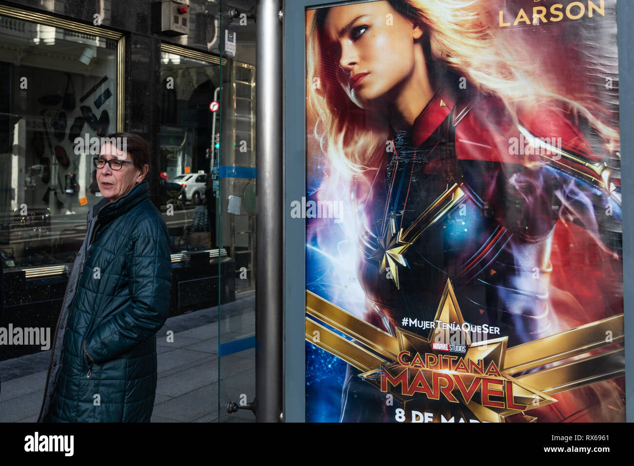 Madrid, Spain  8th Mar, 2019  A women movie advertisement