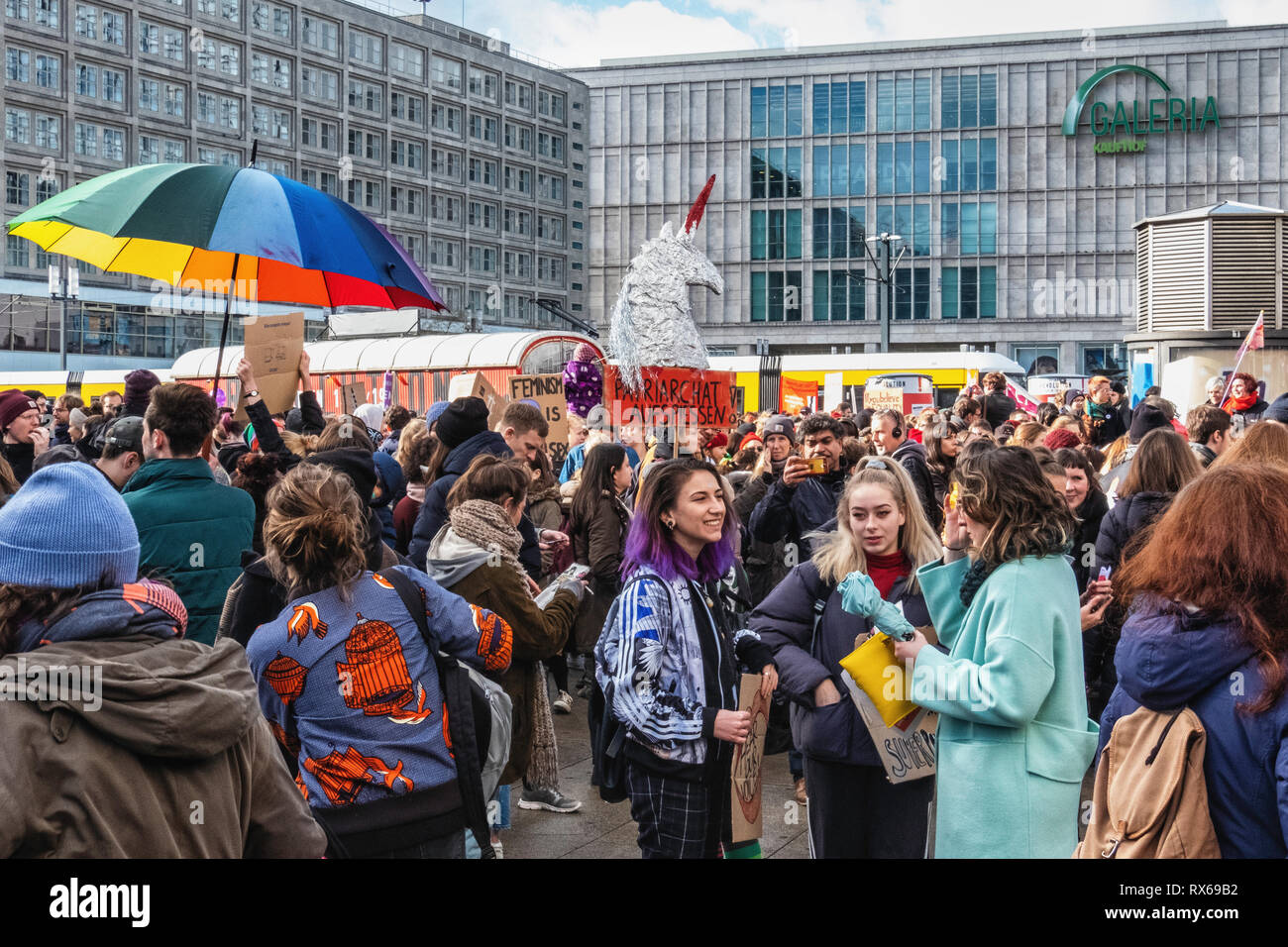 Berlin, Germany, 8th March 2019. People gather at 2pm at Alexanderplatz to march to Kreuzberg. International Women's day is a public holiday for the first time in Berlin – The other 15 German States have not yet declared the day a holiday. People met at various venues in the city to support equal rights for woman under the motto 'Celebrate, strike, fight on'. Credit: Eden Breitz/Alamy Live News - Stock Image