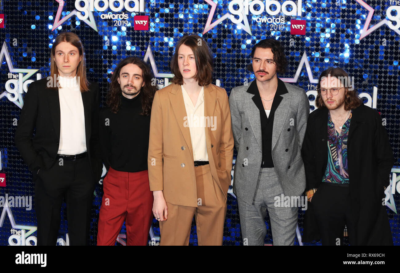 (L to R) Tom Odgen, Charlie Salt, Joe Donovan, Josh Dewhurst and Miles Kellock of Blossoms attend The Global Awards 2019 at the Eventim Hammersmith Apollo in London. - Stock Image