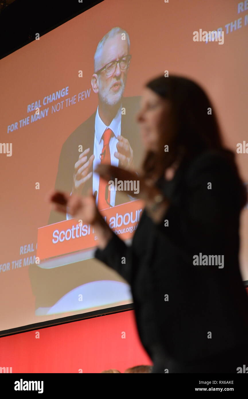 Dundee, UK. 8 March 2019. Labour Leader - Jeremy Corbyn addresses conference with a keynote speech. Credit: Colin Fisher/Alamy Live News Stock Photo