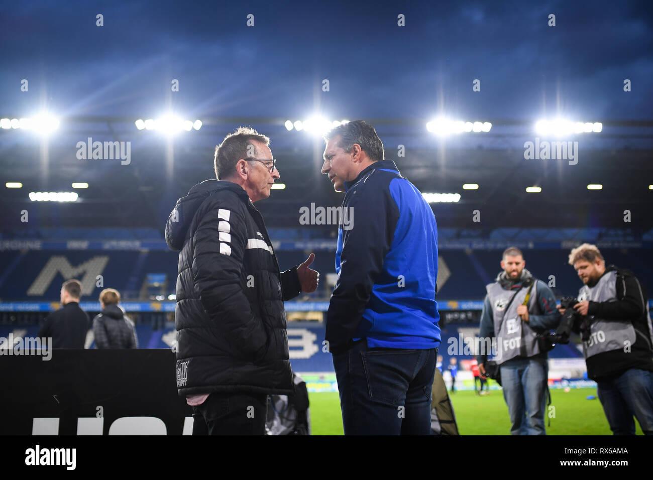 Coach Alois Schwartz (KSC, right) with coach Norbert Maier (KFC Uerdingen 05, l.). GES / football / 3rd league: Krefelder football club Uerdingen - Karlsruher SC, 08.03.2019 Football / Soccer: 3rd League: KFC Uerdingen vs Karlsruher SC, Duisburg, March 8, 2019 | usage worldwide - Stock Image