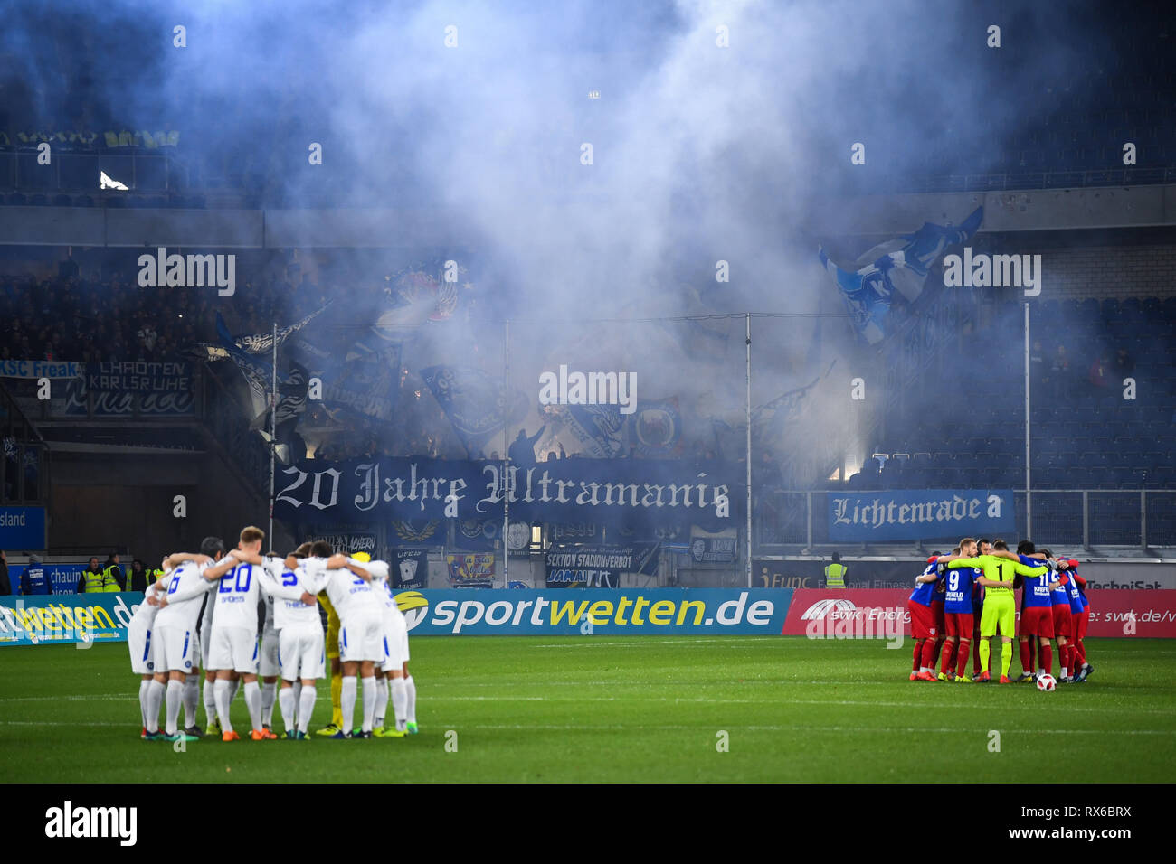 Karlsruhe fans ending Pyro. GES / football / 3rd league: Krefelder football club Uerdingen - Karlsruher SC, 08.03.2019 Football / Soccer: 3rd League: KFC Uerdingen vs Karlsruher SC, Duisburg, March 8, 2019 | usage worldwide - Stock Image