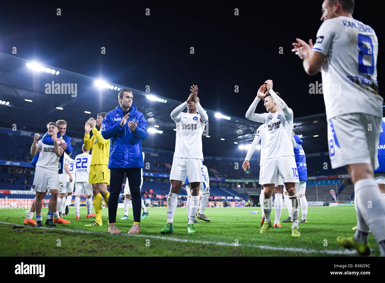 Duisburg, Deutschland. 08th Mar, 2019. final jubilation Karlsruher SC. GES/football/3rd league: Krefelder football club Uerdingen - Karlsruher SC, 08.03.2019 Football/Soccer: 3rd League: KFC Uerdingen vs Karlsruher SC, Duisburg, March 8, 2019 | usage worldwide Credit: dpa/Alamy Live News - Stock Image