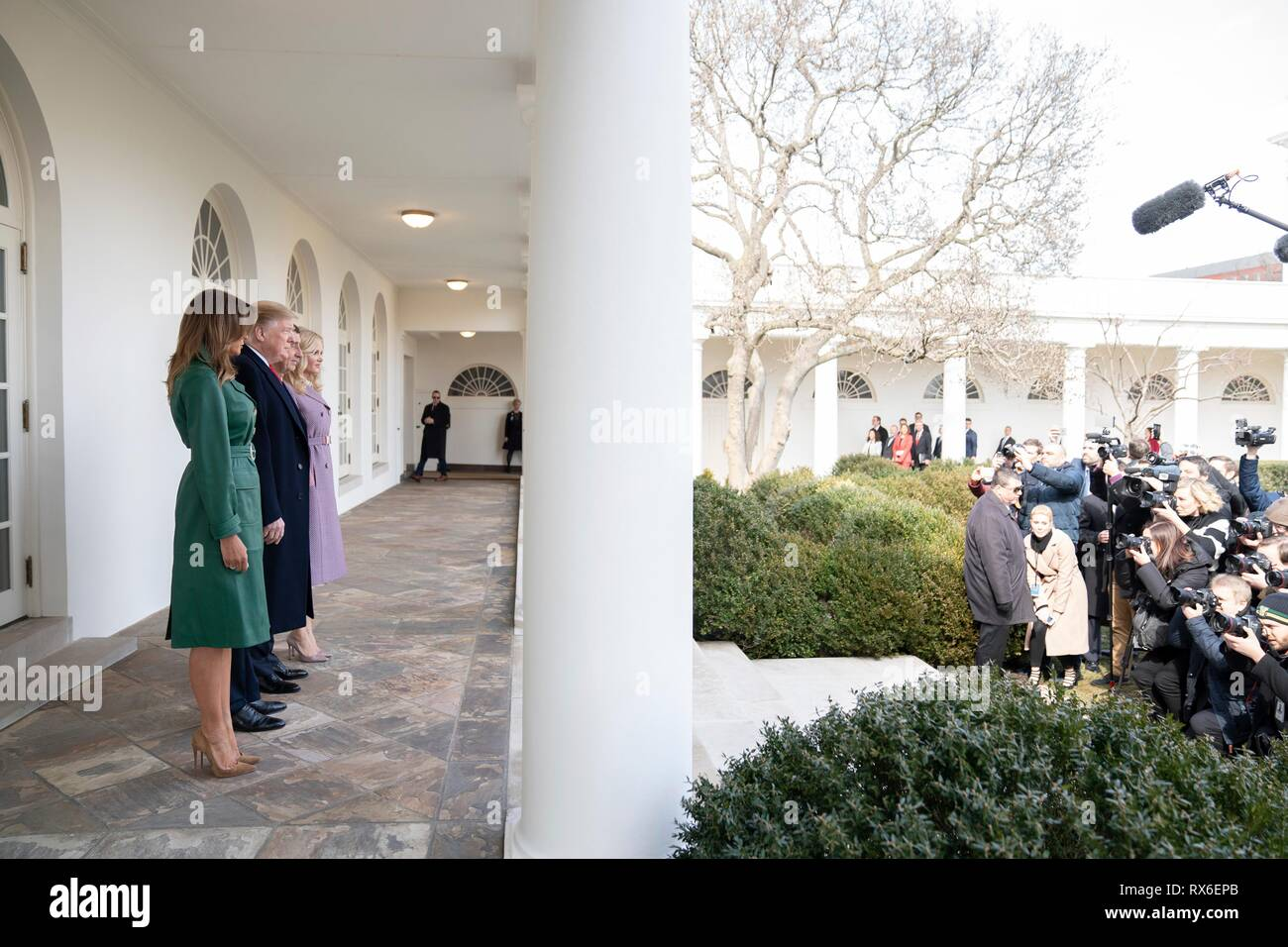 U.S President Donald Trump and First Lady Melania Trump stand together with Czech Prime Minister Andrej Babis and his wife Monika Babisova on the Colonnade of the White House March 7, 2019 in Washington, DC. - Stock Image