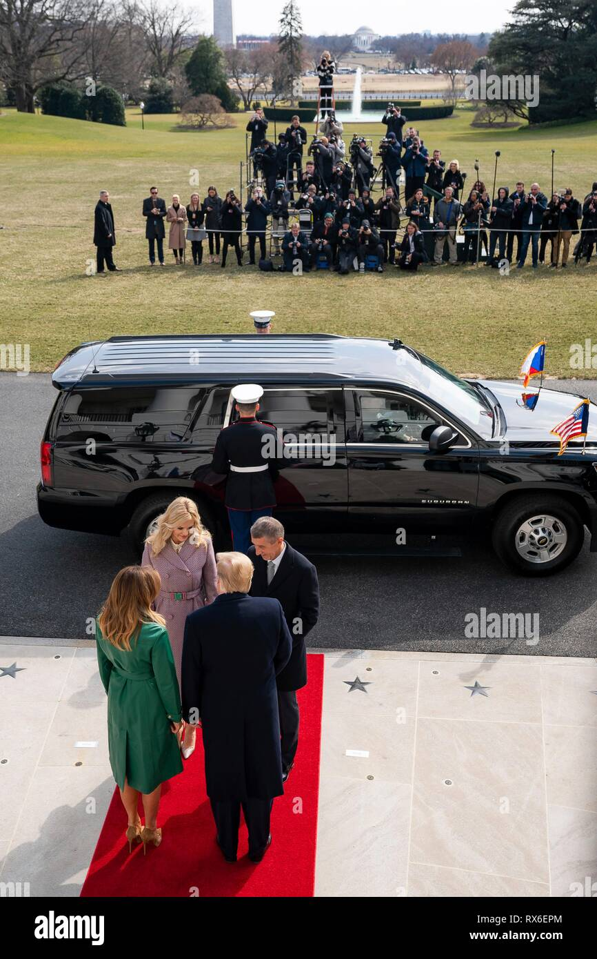 U.S President Donald Trump and First Lady Melania Trump, greet Czech Prime Minister Andrej Babis and his wife Monika Babisova during their arrival at the White House March 7, 2019 in Washington, DC. - Stock Image