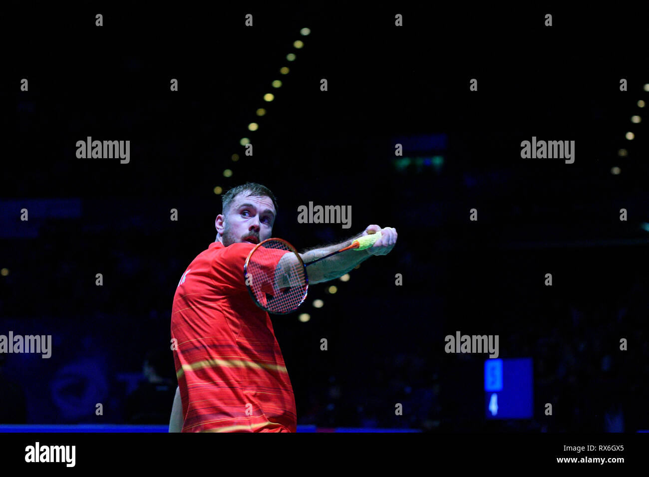 Birmingham, UK. 8th Mar 2019. All England Open Badminton Championships :DAY 3 BIRMINGHAM, ENGLAND - MARCH 8 : MEN'Singles, Jan JORGENSEN of DENMARK in action at the Yonex All England Open Badminton Championships at Arena Birmingham on March 8, 2019 Birmingham, England Credit: PATRICK ANTHONISZ/Alamy Live News - Stock Image