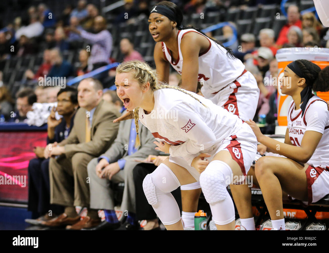 e30ba18c997 University of Oklahoma players celebrate during a Phillips 66 Big 12 Womens  Basketball Championship Tournament game between the Oklahoma Sooners and  the ...