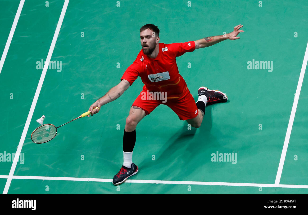 Birmingham. 8th Mar, 2019. Denmark's Jan O Jorgensen competes during the men's singles quarterfinal match with his compatriot Viktor Axelsen at the All England Open Badminton Championships 2019 in Birmingham, Britain on March 8, 2019. Credit: Han Yan/Xinhua/Alamy Live News - Stock Image