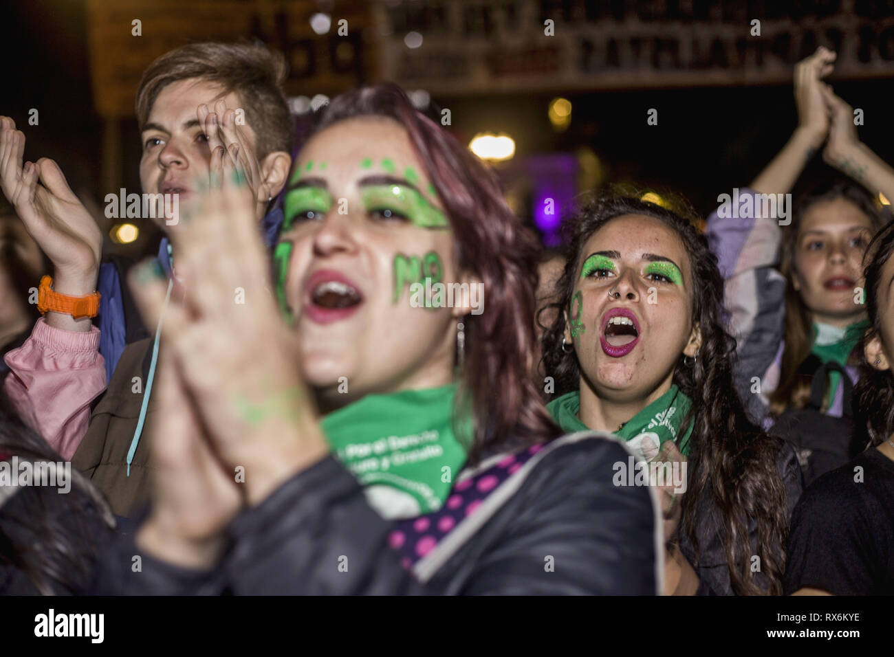 Buenos Aires, Federal Capital, Argentina. 8th Mar, 2019. On the occasion of International Women's Day, feminist groups from across the country called for a march throughout the country. At around 8:30 pm, more than 100 thousand people were present at the mobilization and subsequent concentration.In the center of Buenos Aires, since the morning, various groups of women took to the streets to make their demands heard. In the streets surrounding the National Congress there are several groups that claimed from the early hours of the afternoon for the rights of women. (Credit Image: © Roberto A Stock Photo