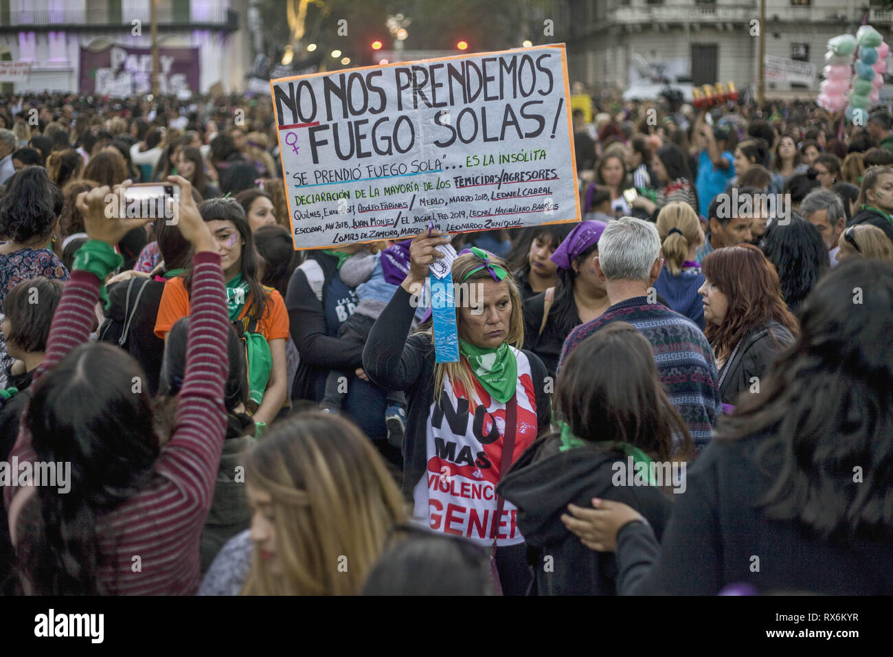 Buenos Aires, Federal Capital, Argentina. 8th Mar, 2019. On the occasion of International Women's Day, feminist groups from across the country called for a march throughout the country. At around 8:30 pm, more than 100 thousand people were present at the mobilization and subsequent concentration.In the center of Buenos Aires, since the morning, various groups of women took to the streets to make their demands heard. In the streets surrounding the National Congress there are several groups that claimed from the early hours of the afternoon for the rights of women. (Credit Image: © Roberto A - Stock Image