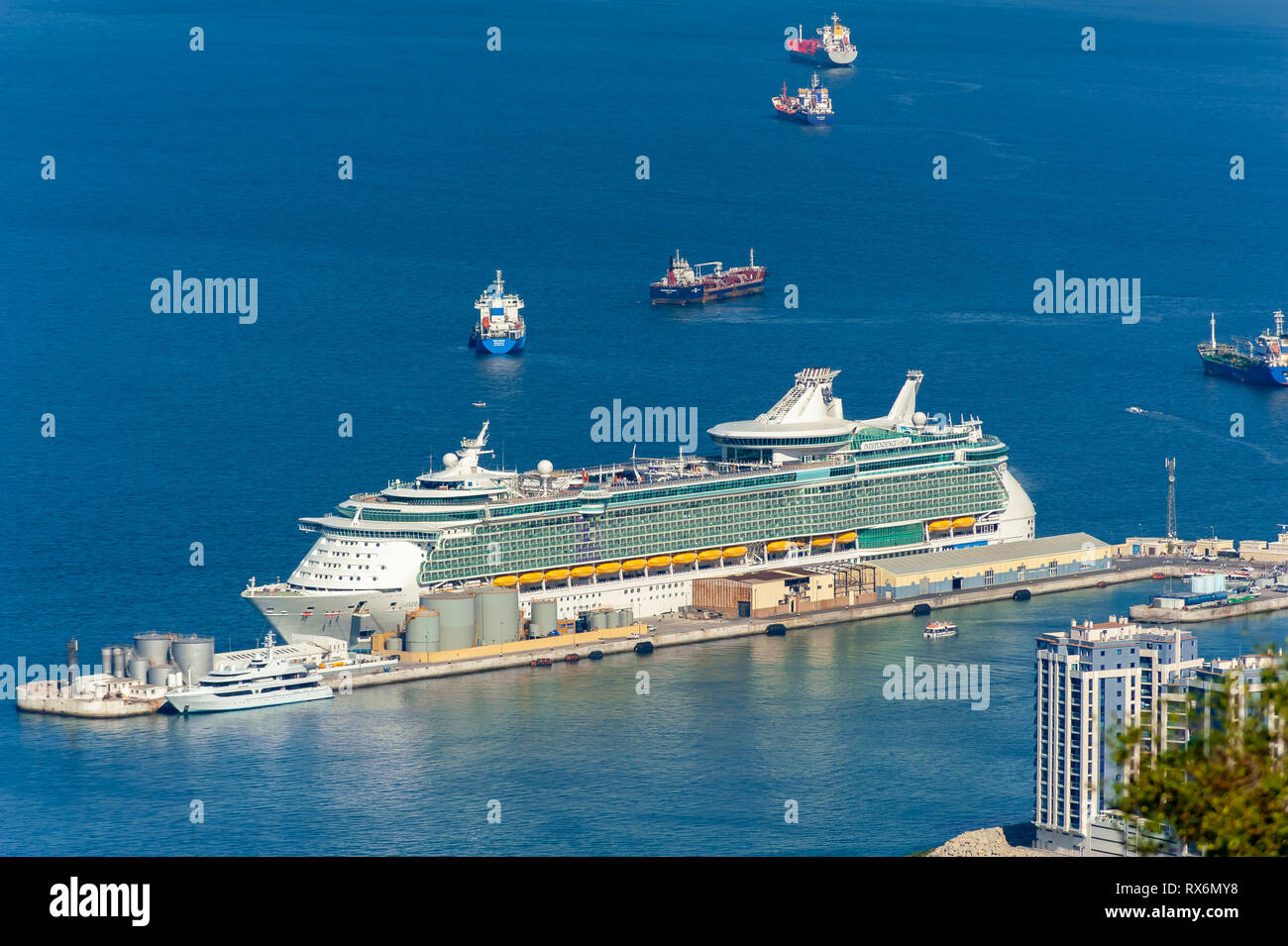 Royal Caribbean Independence of the Seas Cruise Ship in port at the Rock of Gibralter. - Stock Image