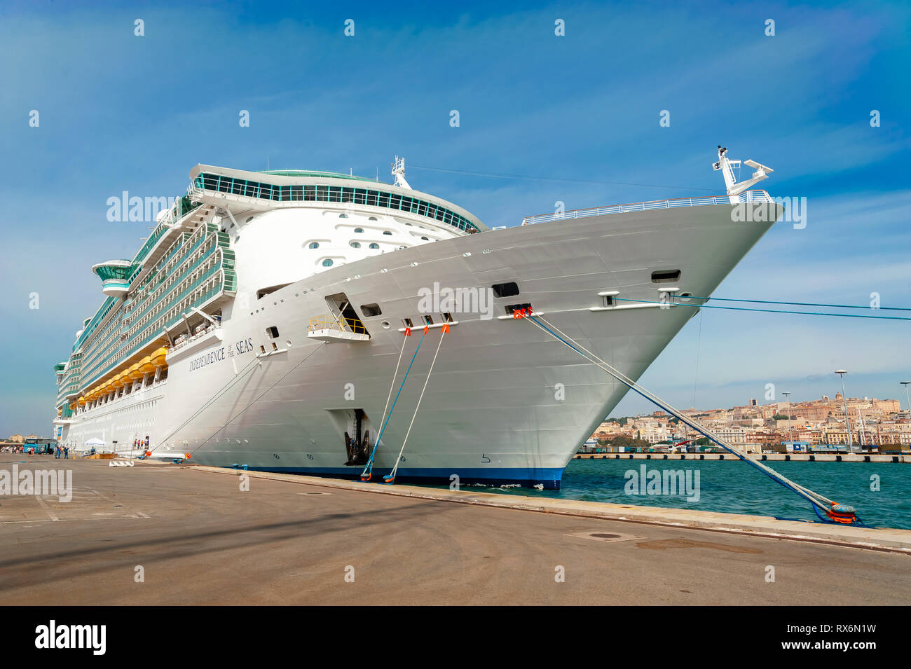Royal Caribbean Independence of the Seas Cruise Ship in port in Cagliari Sardinia. - Stock Image