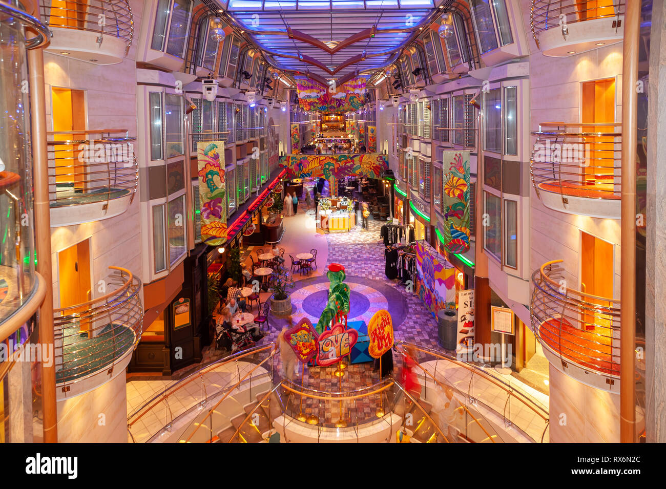 Royal Caribbean Independence of the Seas Cruise Ship interior and exterior photographs showing the ship, parties, people, environment at sea and port. - Stock Image