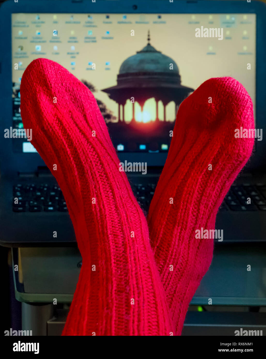 A woman's feet with red wool socks on a desk against an open laptop in the background - Stock Image