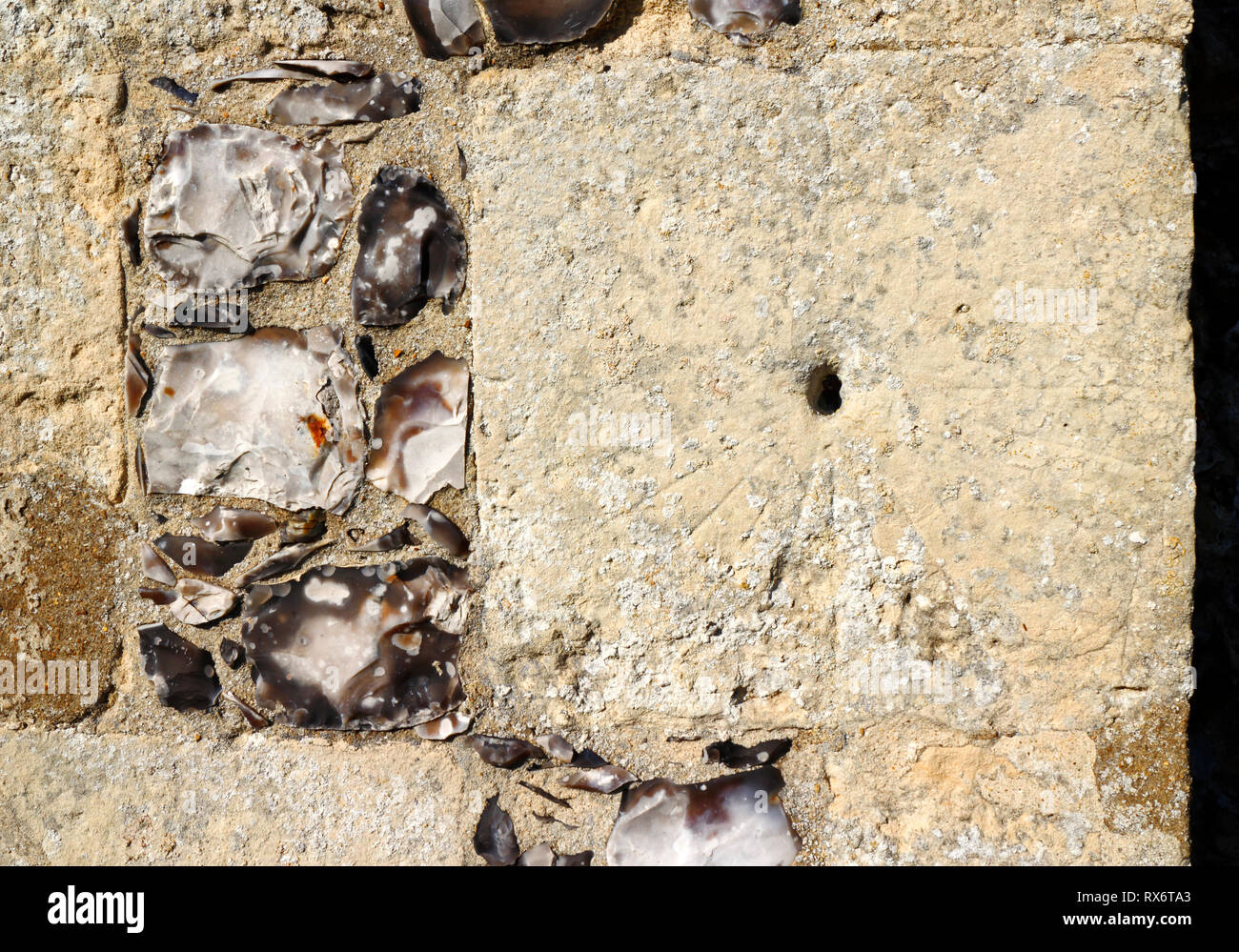 A mass dial on the south wall of the Church of St Margaret at Cley-next-the-Sea, Norfolk, England, United Kingdom, Europe. - Stock Image