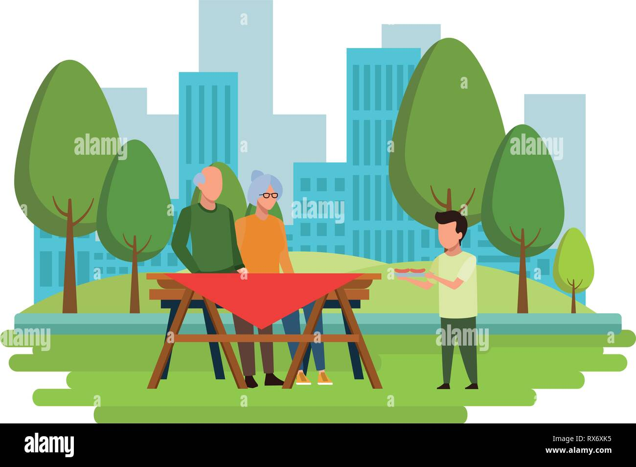 Faceless grandparents table outdoor barbecue food vector illustration graphic design