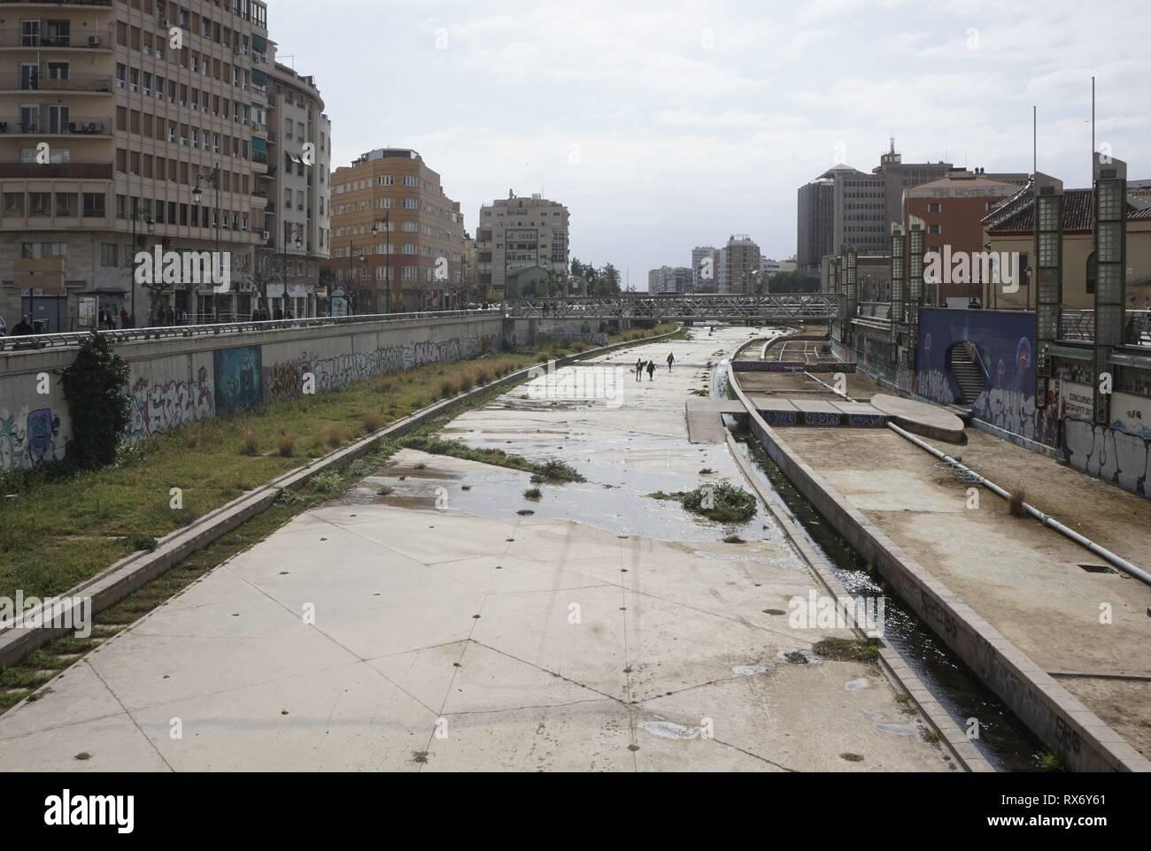 Picture shows the dry river Guadalmedina in Malaga, 15