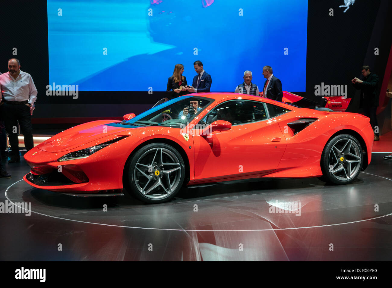 GENEVA, SWITZERLAND - MARCH 6, 2019: New Ferrari F8 Tributo sports car reveiled at the 89th Geneva International Motor Show. - Stock Image