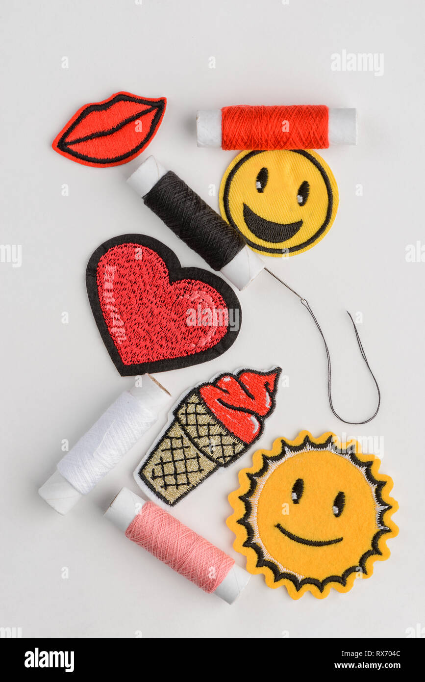 Set of embroidered patches Stock Photo: 239869628 - Alamy