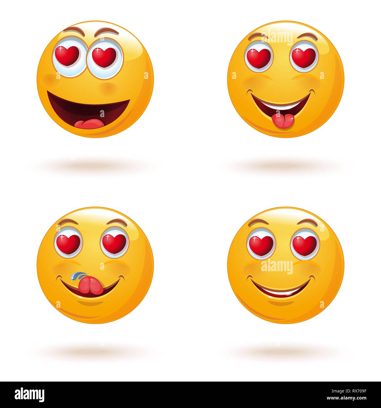 Emoticon face set with hearts instead of eyes - Stock Image