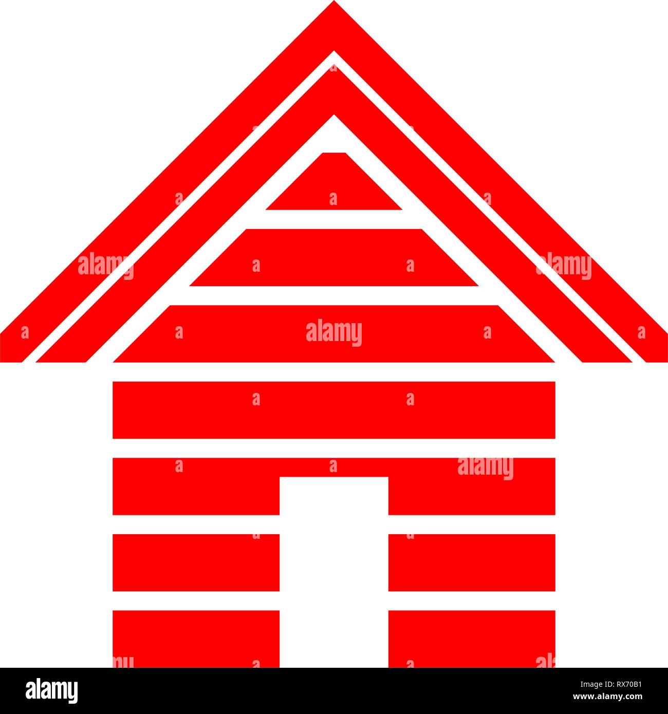 Home symbol icon - red striped, isolated - vector illustration - Stock Vector
