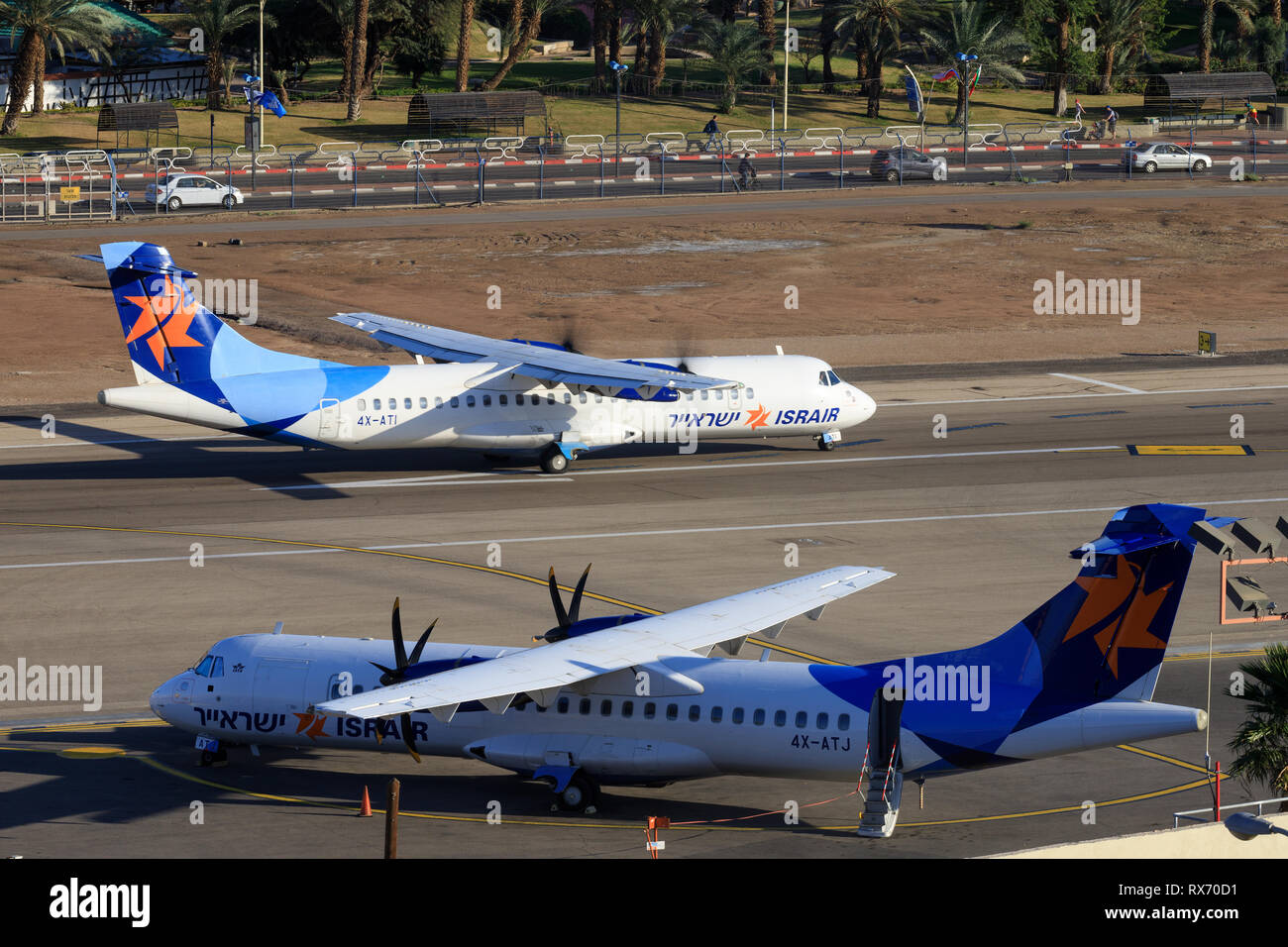 Eilat, ISRAEL-February 24, 2019: Israir Airlines ATR 72-200 at old Eilat international Airport. - Stock Image
