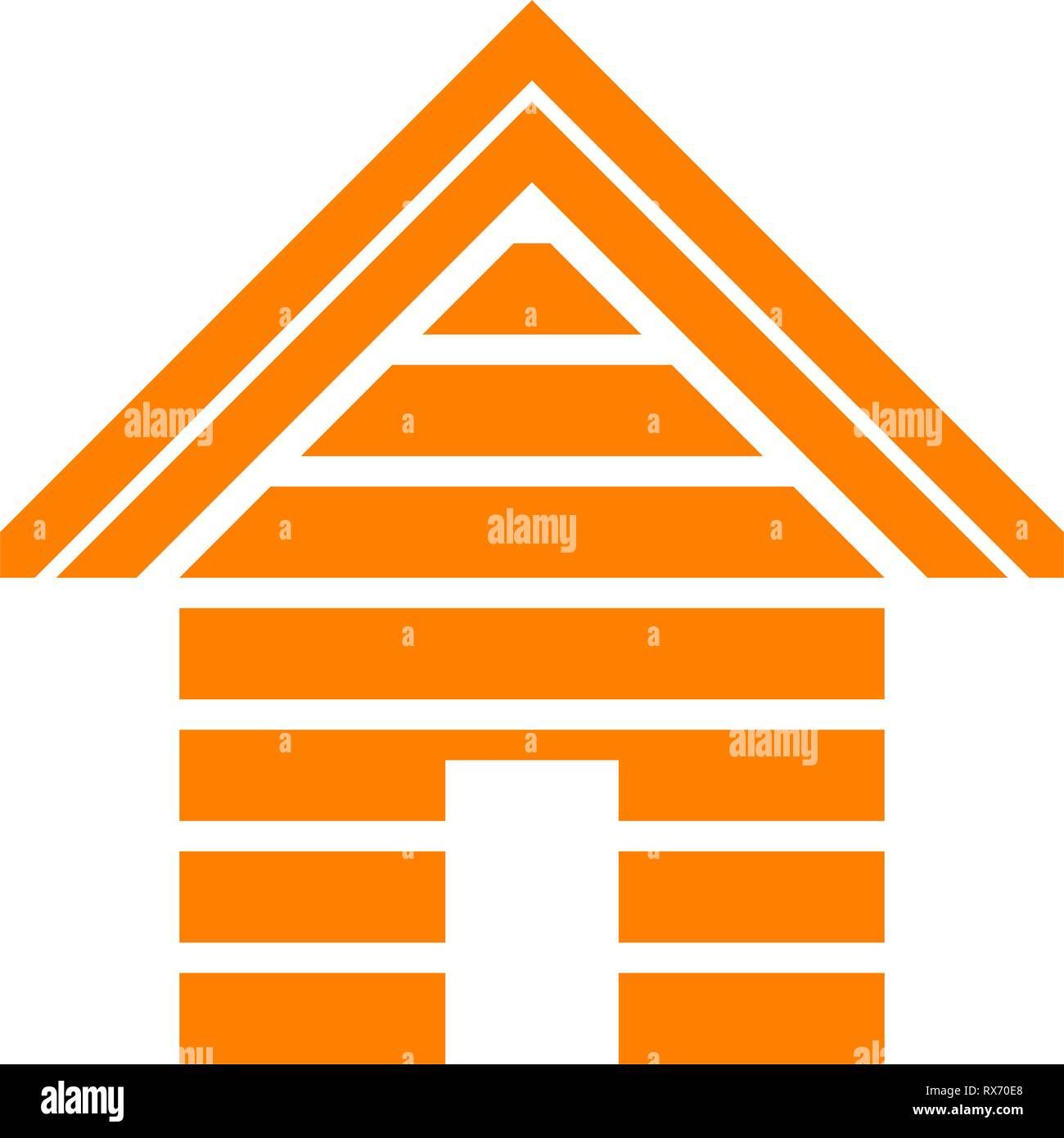Home symbol icon - orange striped, isolated - vector illustration - Stock Vector