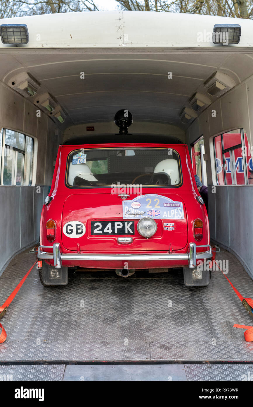 1959 BMC Mobile Training Unit Transporter and Mini car at Bicester heritage centre sunday scramble event. Bicester, Oxfordshire, England - Stock Image