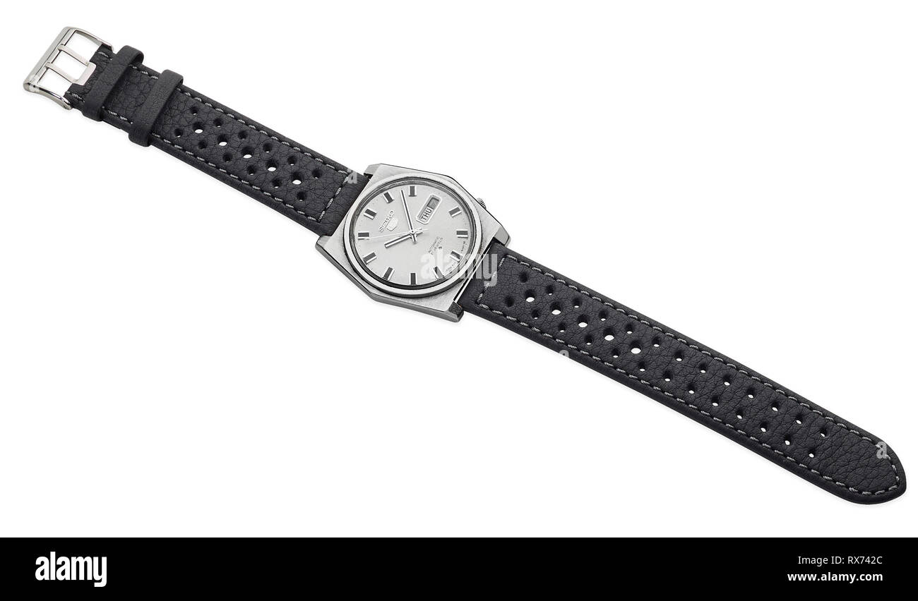Automatic 21 jewels Seiko 5 watch from the 1970s with new leather strap added - Stock Image