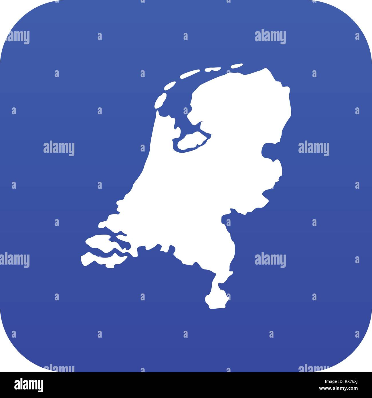 Holland map icon digital blue Stock Vector