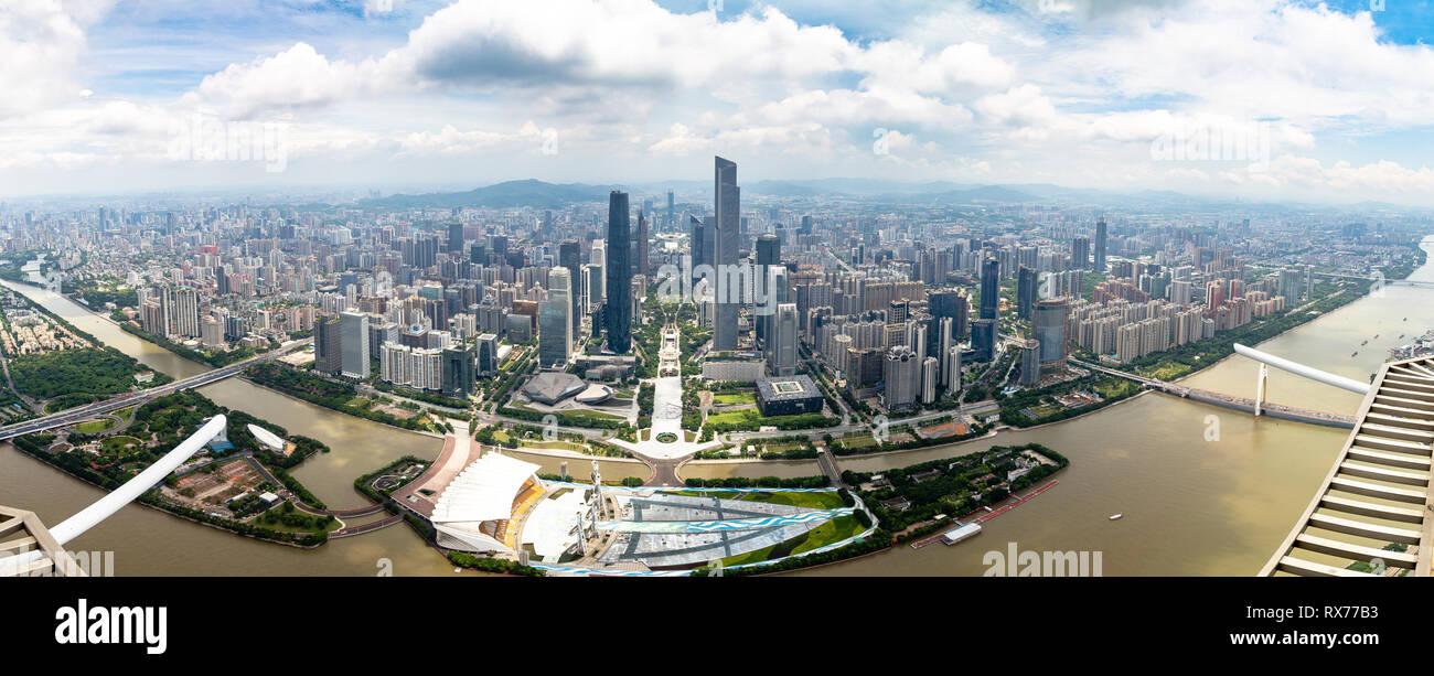 July 2017, Guangzhou, China. Panoramic view of Guangzhou central business district and of the Pearl River from the 488m observation deck of the Canton - Stock Image