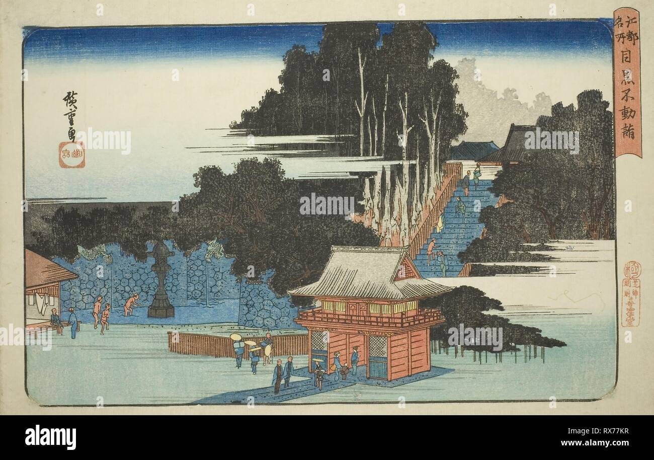 Visiting the Fudo Temple in Meguro (Meguro Fudo mode), from the series 'Famous Places in Edo (Koto meisho)'. Utagawa Hiroshige ?? ??; Japanese, 1797-1858. Date: 1827-1839. Dimensions: 25 x 38.5 cm (9 13/16 x 15 1/8 in.). Color woodblock print; oban. Origin: Japan. Museum: The Chicago Art Institute. - Stock Image