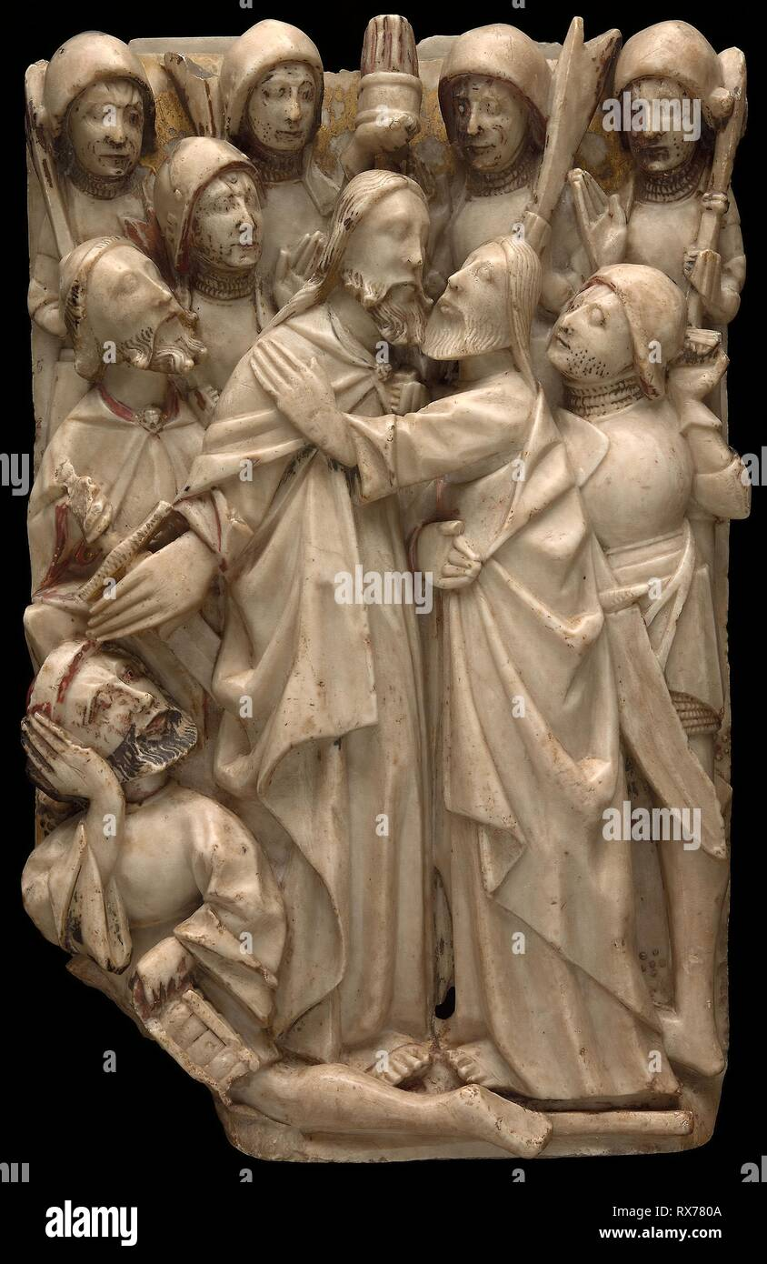 The Betrayal of Christ. English. Date: 1401-1500. Dimensions: 48.3 × 30.5 cm (19 × 12 in.). Alabaster with traces of polychromy and gilding. Origin: Nottingham. Museum: The Chicago Art Institute. - Stock Image