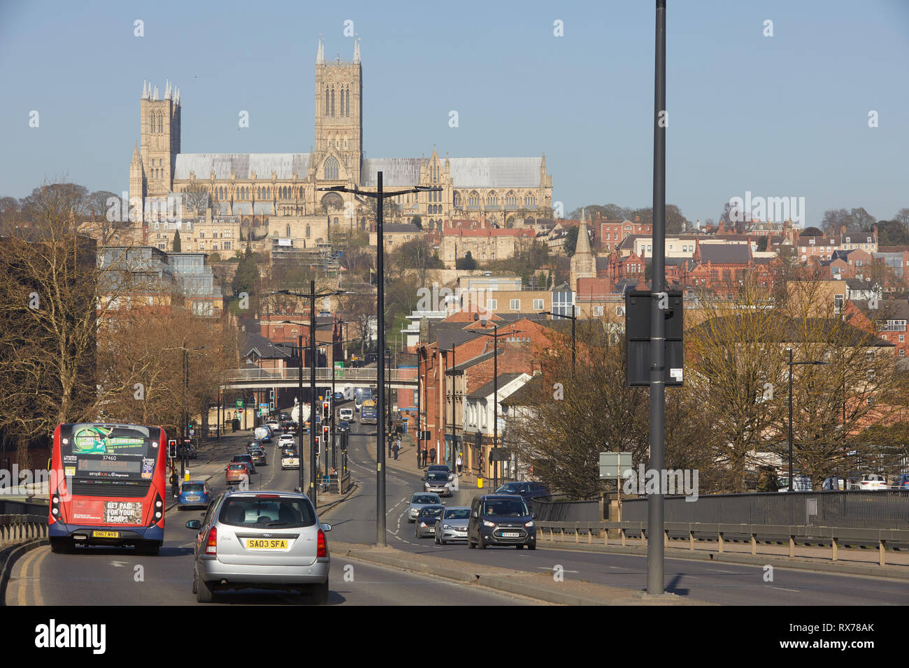 Lincoln Cathedral from Pelham Bridge showing traffic congestion - Stock Image