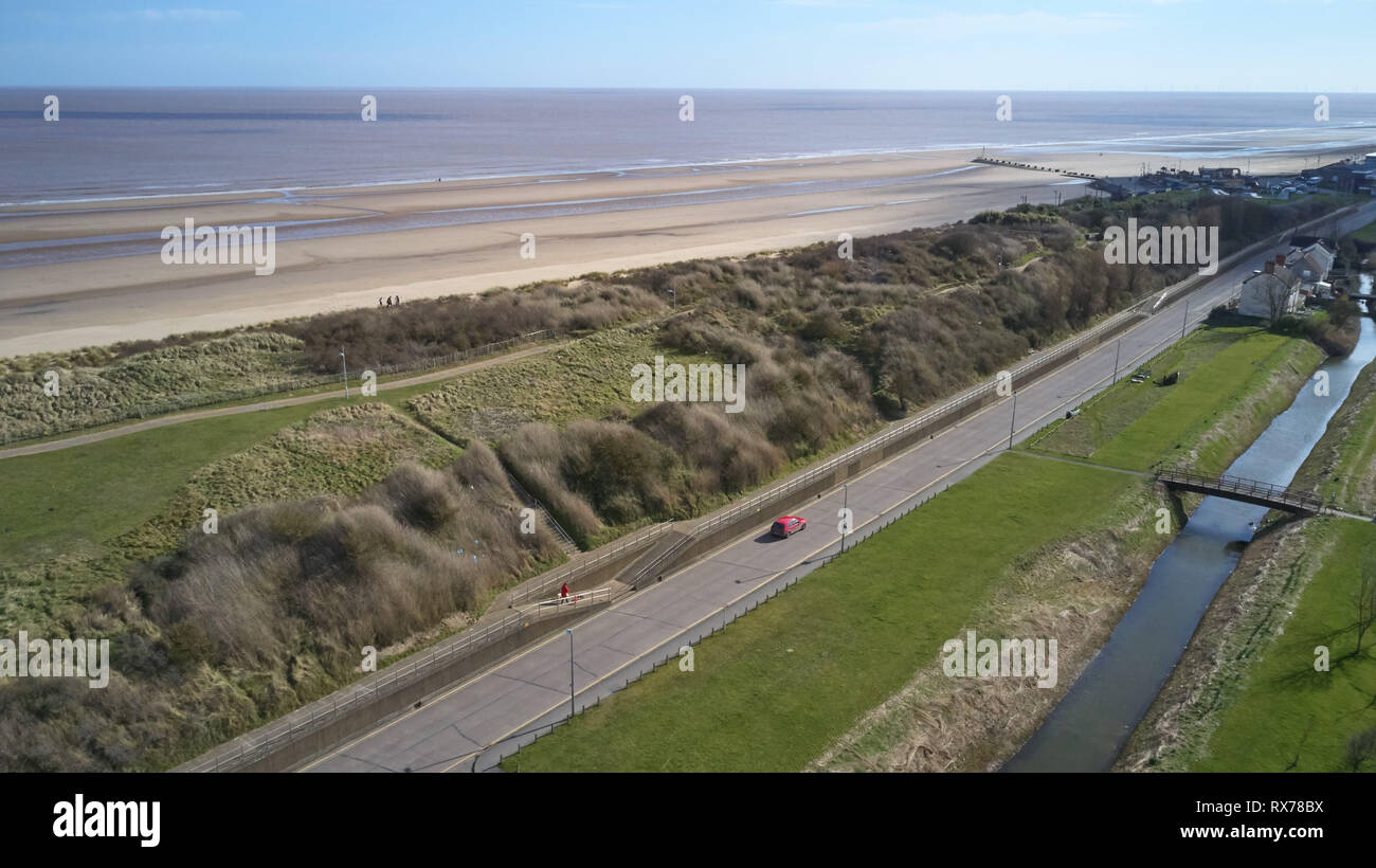 Drone aerial shots of Mablethorpe, Lincolnshire from Sea View Car park - Stock Image