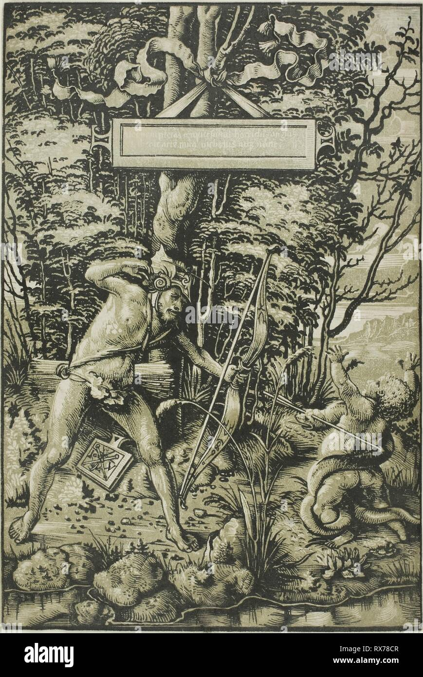 Alcon Slaying the Serpent. Hans Wechtlin, I; German, 1480/85-after 1526. Date: 1510-1515. Dimensions: 274 x 183 mm (image/block/sheet). Chiaroscuro woodcut printed from two blocks in black and olive green on cream laid paper. Origin: Germany. Museum: The Chicago Art Institute. - Stock Image