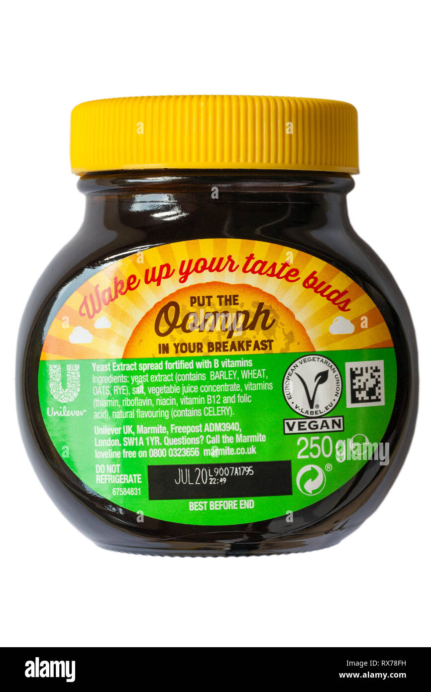 Back of jar of Special edition of Valentine Marmite by Unilever isolated on white background - yeast extract spread fortified with B vitamins - Stock Image
