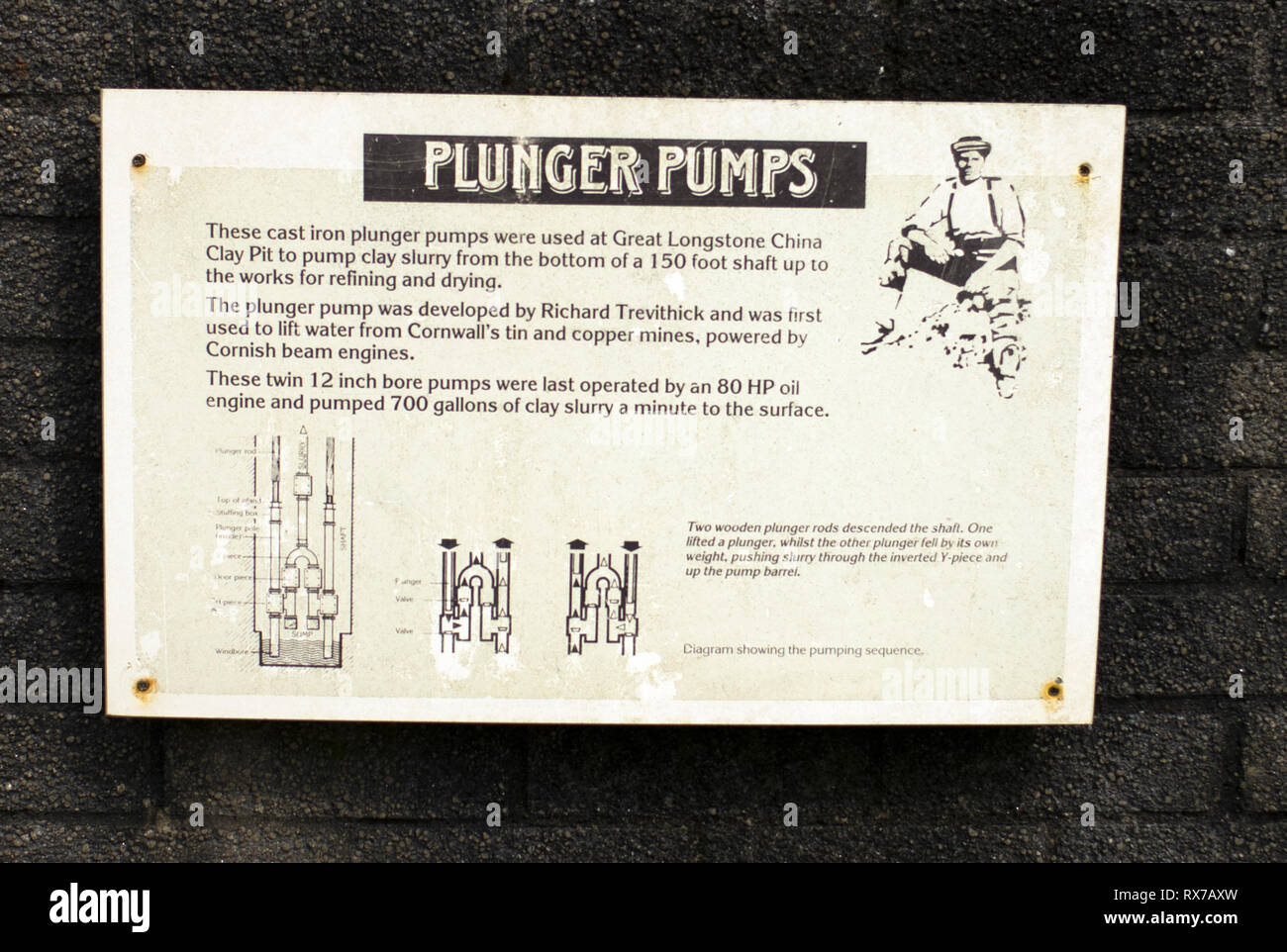 Plunger pumps, great Longstone, china clay pit, Richard Trevithick, St austell Cornwall - Stock Image