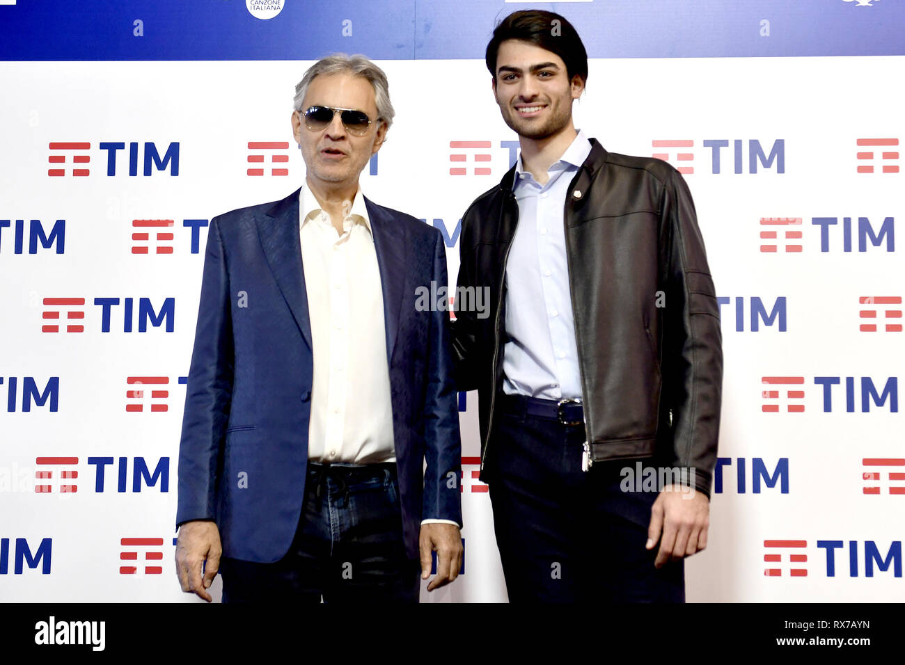 Sanremo Music Festival 2019 - Press Conference  Featuring: Andrea Bocelli, Matteo Bocelli Where: Sanremo, Liguria, Italy When: 05 Feb 2019 Credit: IPA/WENN.com  **Only available for publication in UK, USA, Germany, Austria, Switzerland** - Stock Image