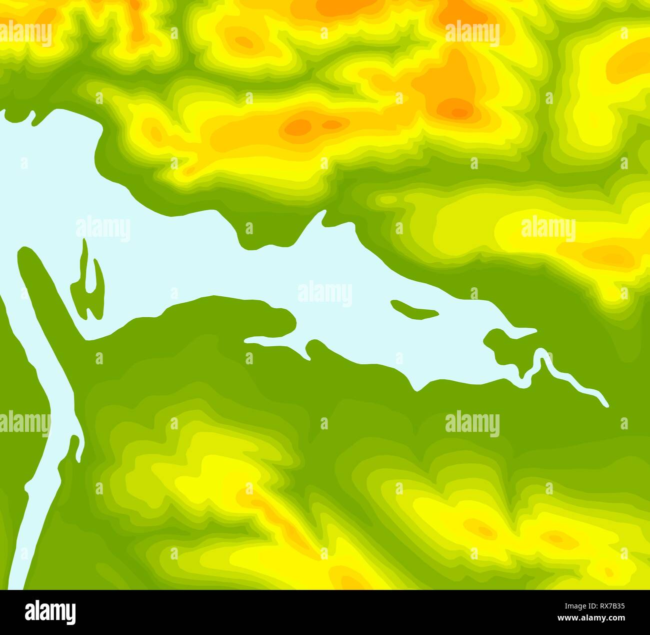 Topographic map contour background. Topo with elevation. Contour vector. Geographic World Topography map grid abstract vector illustration - Stock Image