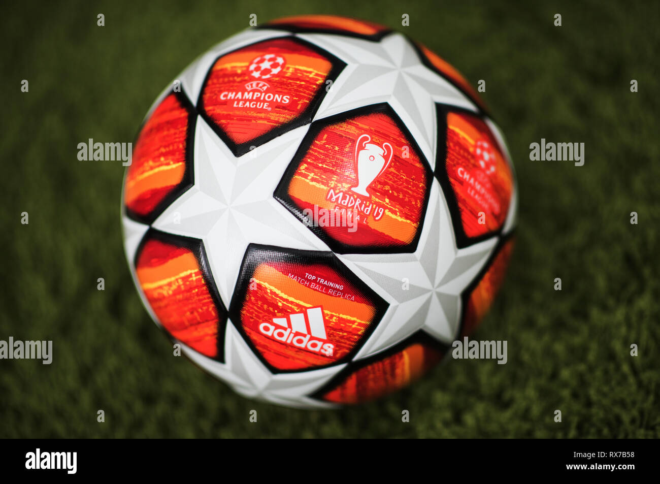close up of adidas uefa champions league final football madrid 2019 stock photo alamy https www alamy com close up of adidas uefa champions league final football madrid 2019 image239878276 html
