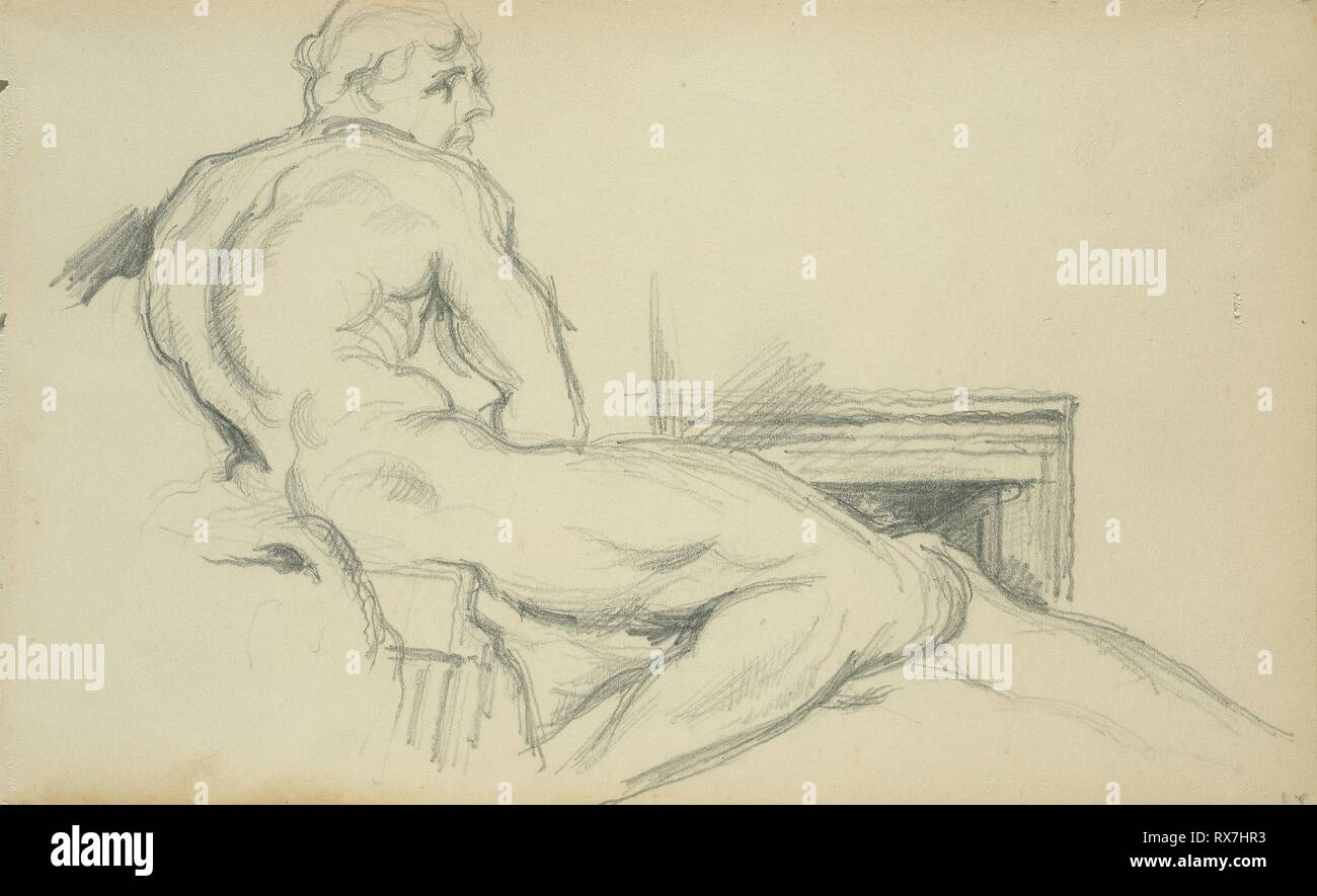 Hercules Resting. Paul Cézanne (French, 1839-1906); after Pierre Puget (French, 1620-1694). Date: 1897. Dimensions: 194 × 118 mm. Graphite on ivory wove paper. Origin: France. Museum: The Chicago Art Institute. - Stock Image